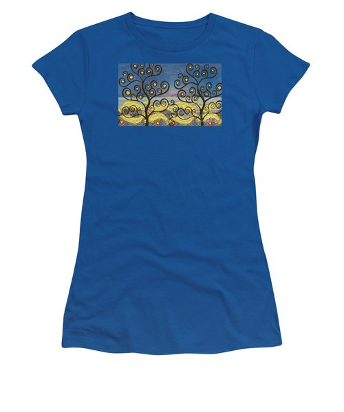 Women's T-Shirt (Junior Cut) featuring the digital art Salmon Dance Blue by Kim Prowse