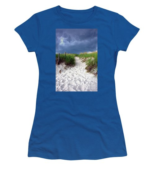Women's T-Shirt (Athletic Fit) featuring the photograph Sand Dune Under Storm by Olivier Le Queinec