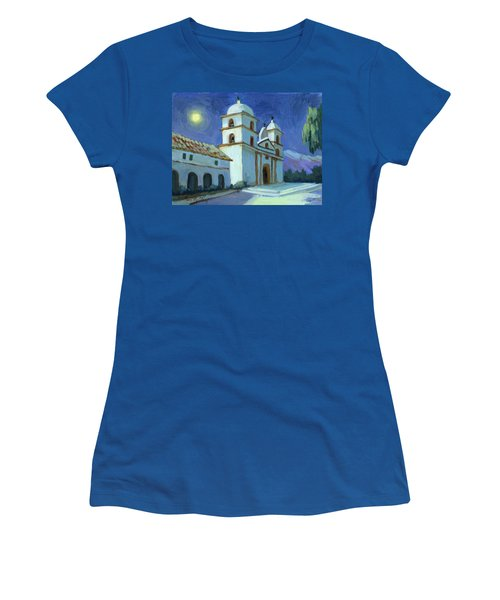 Santa Barbara Mission Moonlight Women's T-Shirt (Athletic Fit)