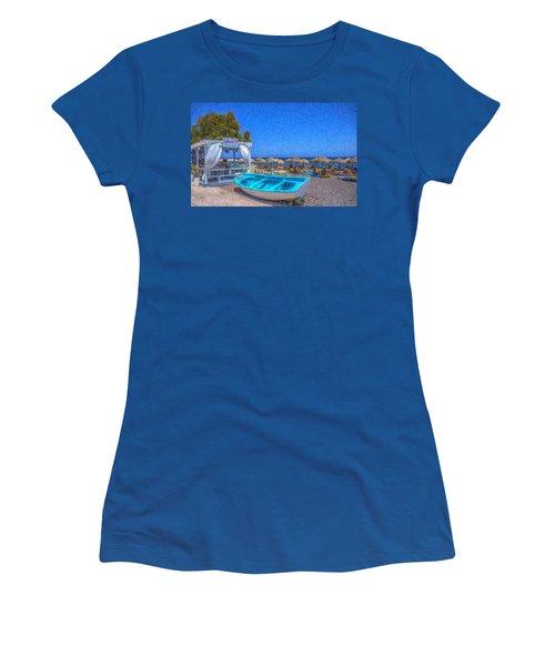 Santorini Beach Boat Grk4151 Women's T-Shirt