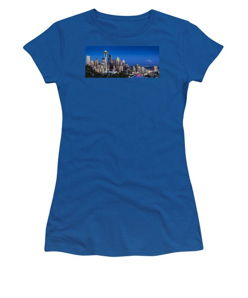 Women's T-Shirt featuring the photograph Seattle Skyline Panoramic by Brian Jannsen