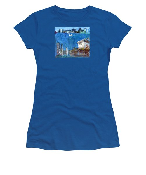 Women's T-Shirt (Junior Cut) featuring the painting Shack On The Bay by Betty Pieper