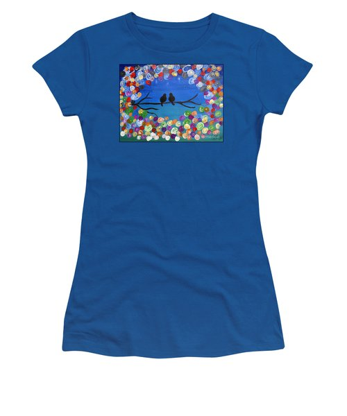 Women's T-Shirt (Junior Cut) featuring the painting Singing To The Stars Tree Bird Art Painting Print by Ella Kaye Dickey