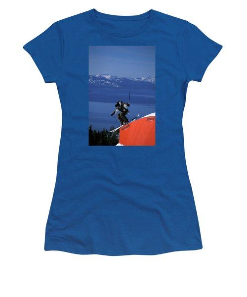Skier On A Rail In A Terrain Park Women's T-Shirt