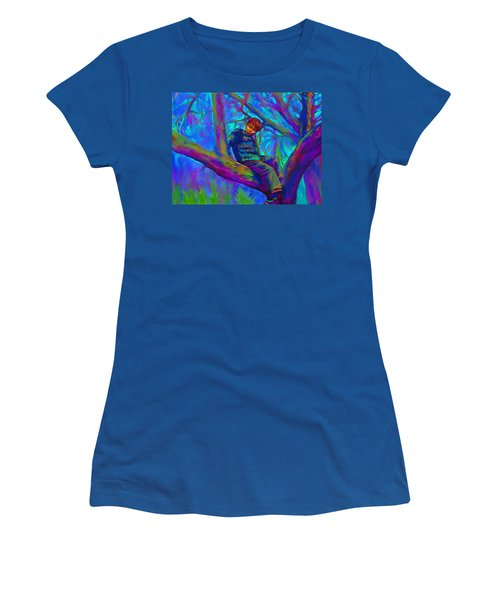 Small Boy In Large Tree Women's T-Shirt