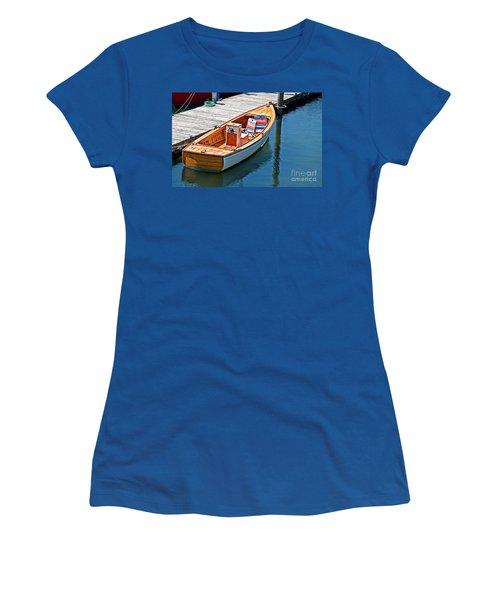 Small Dinghy Boat Art Prints Women's T-Shirt (Junior Cut) by Valerie Garner