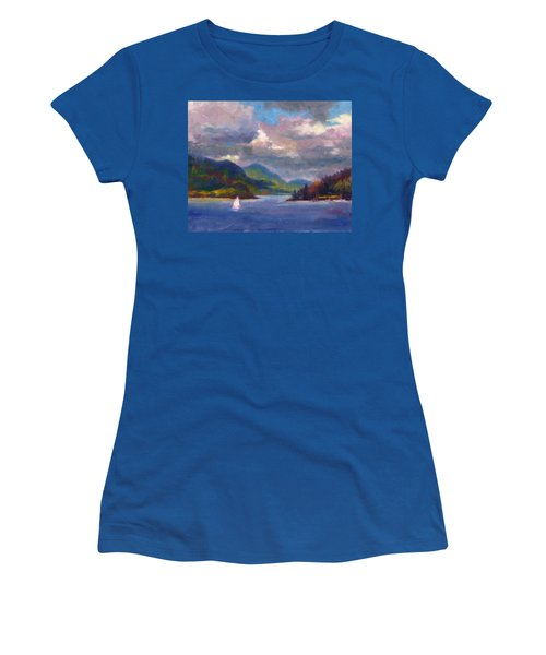 Smooth Sailing Sailboat On Alaska Inside Passage Women's T-Shirt