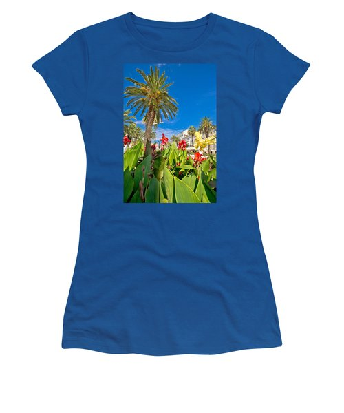 Split Riva Palms And Flowers Women's T-Shirt (Athletic Fit)