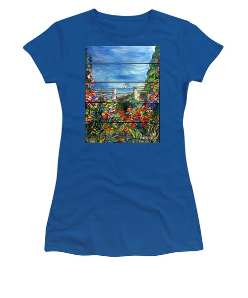 Stained Glass Tiffany Landscape Window With Sailboat Women's T-Shirt