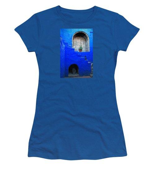 Staircase In Blue Courtyard Women's T-Shirt (Junior Cut) by RicardMN Photography