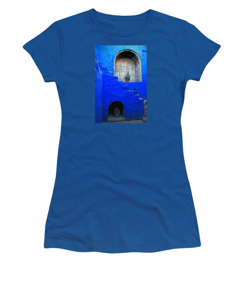 Staircase In Blue Courtyard Women's T-Shirt (Athletic Fit)