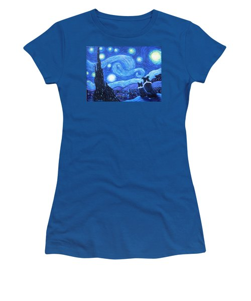 Women's T-Shirt (Junior Cut) featuring the painting Starry Night Border Collies by Fran Brooks