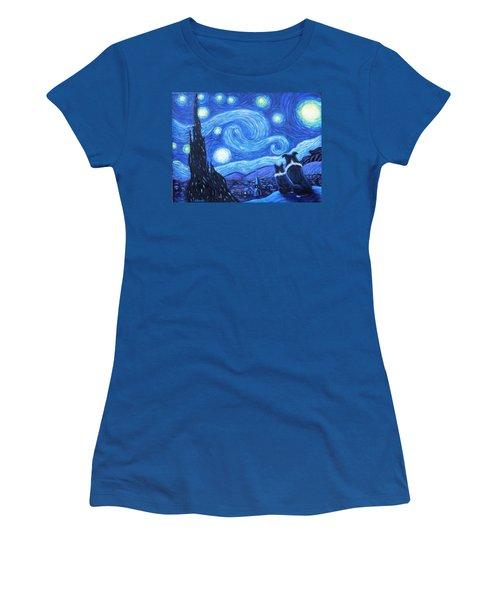 Starry Night Border Collies Women's T-Shirt