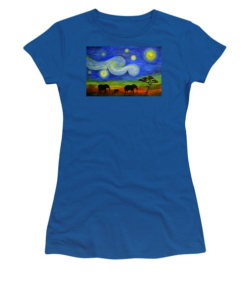 Starry Night Over Africa Women's T-Shirt (Athletic Fit)