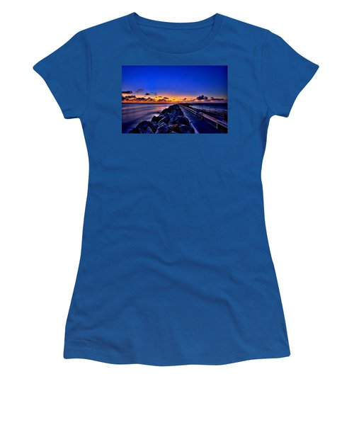 Women's T-Shirt (Junior Cut) featuring the painting Sunrise On The Pier by Bruce Nutting