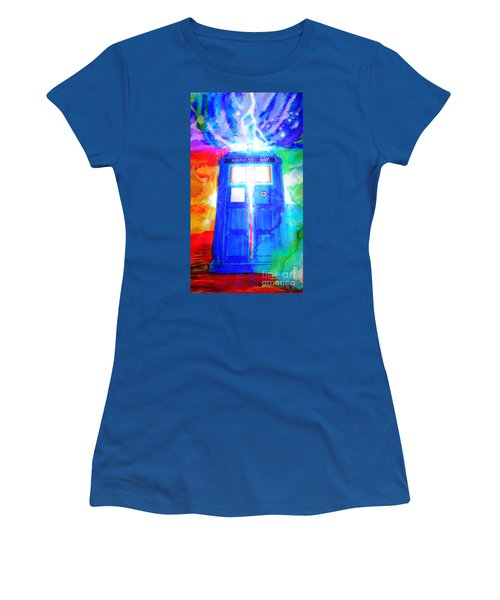 Women's T-Shirt (Junior Cut) featuring the drawing Tardis by Justin Moore