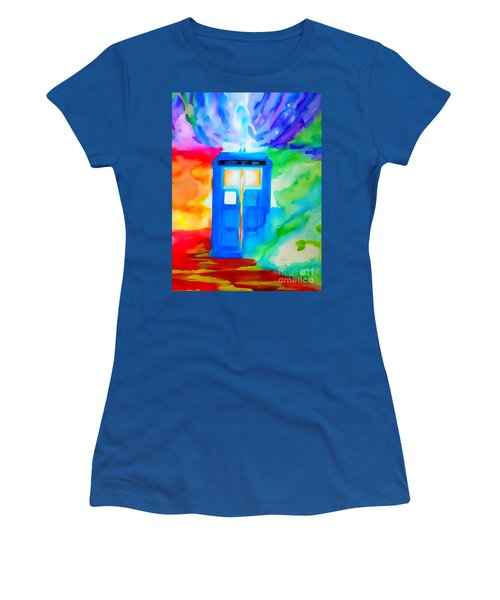 Women's T-Shirt (Junior Cut) featuring the drawing Tardis Watercolor Edition by Justin Moore