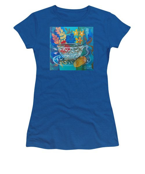 Women's T-Shirt (Junior Cut) featuring the painting Tea With Biscuit by Robin Maria Pedrero