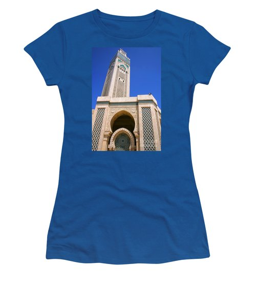 Women's T-Shirt (Junior Cut) featuring the photograph The Hassan II Mosque Grand Mosque With The Worlds Tallest 210m Minaret Sour Jdid Casablanca Morocco by Ralph A  Ledergerber-Photography