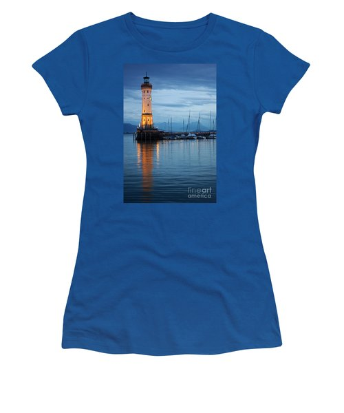 Women's T-Shirt (Junior Cut) featuring the photograph The Lighthouse Of Lindau By Night by Nick  Biemans