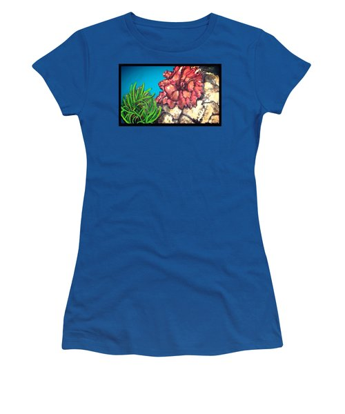 Women's T-Shirt (Junior Cut) featuring the painting The Odd Couple Two Very Different Sea Anemones Cohabitat by Kimberlee Baxter