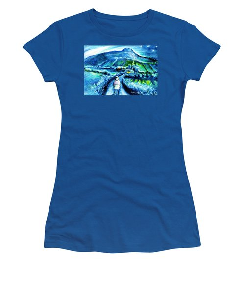 The White Ribbon - Eagle Hill  Women's T-Shirt (Junior Cut) by Trudi Doyle