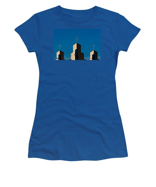 Women's T-Shirt (Junior Cut) featuring the photograph Three Crosses Of Livingway Church  by Ed Gleichman