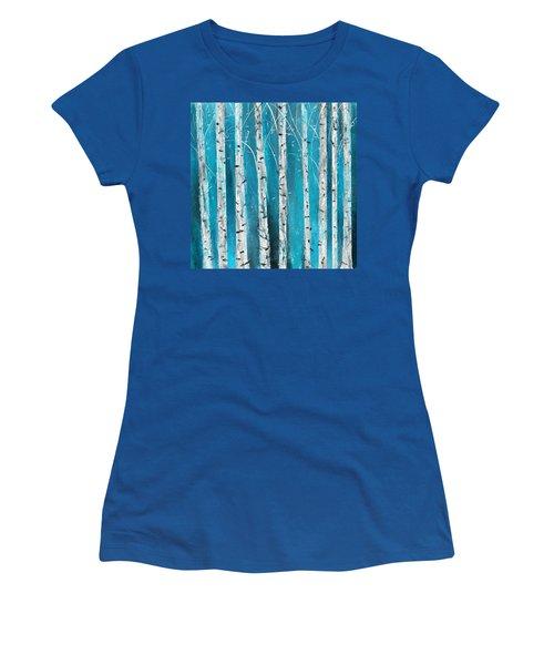Turquoise Birch Trees II- Turquoise Art Women's T-Shirt
