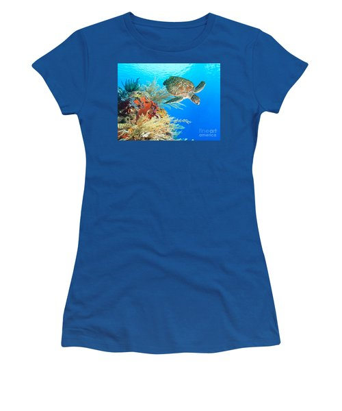 Turtle And Coral Women's T-Shirt