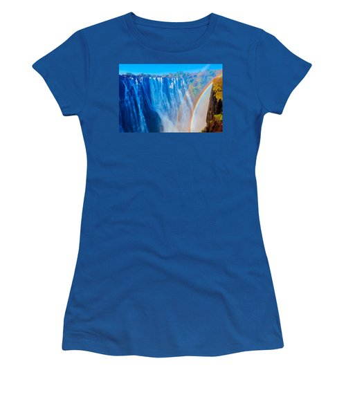 Victoria Falls Double Rainbow Women's T-Shirt (Junior Cut) by Jeff at JSJ Photography