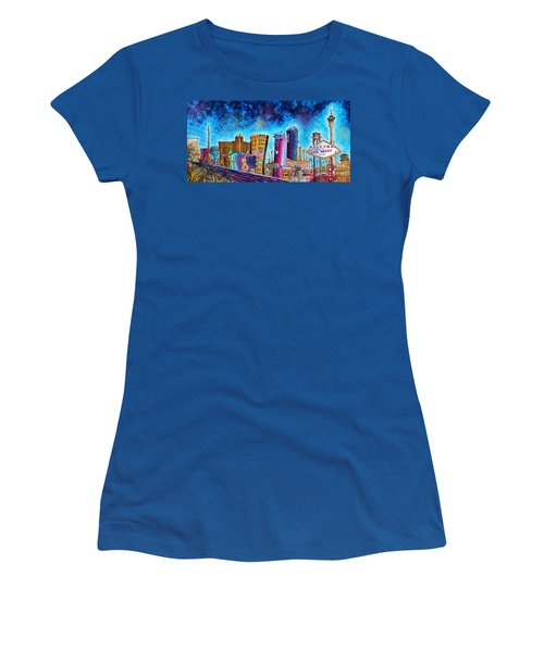 Viva Las Vegas A Fun And Funky Pop Art Painting Of The Vegas Skyline And Sign By Megan Duncanson Women's T-Shirt