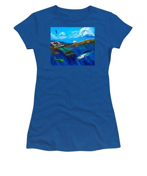 Wahoo Under Board Women's T-Shirt (Junior Cut) by Steve Ozment