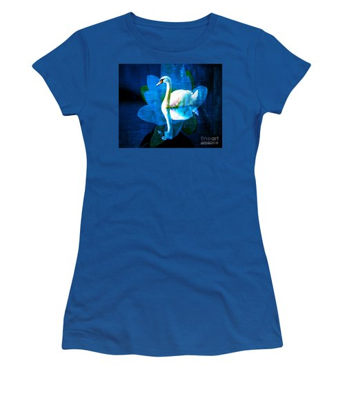 Women's T-Shirt (Junior Cut) featuring the photograph Water Lily And Swan by Annie Zeno