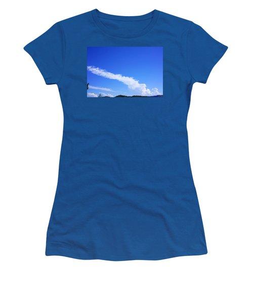 White Clouds Art Prints Blue Sky Sunny Women's T-Shirt