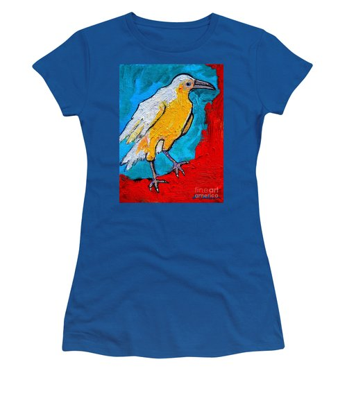 Women's T-Shirt (Junior Cut) featuring the painting White Crow by Ana Maria Edulescu