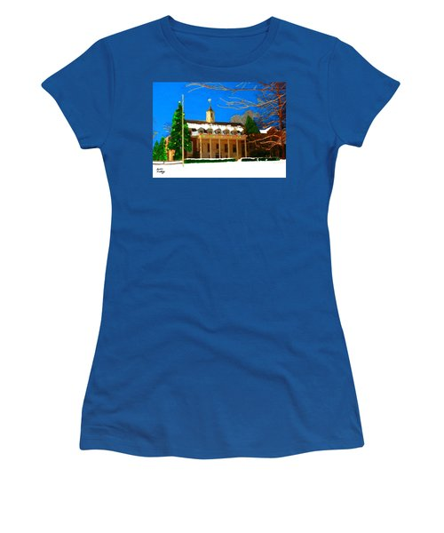 Whittle Hall At Christmas Women's T-Shirt (Junior Cut) by Bruce Nutting
