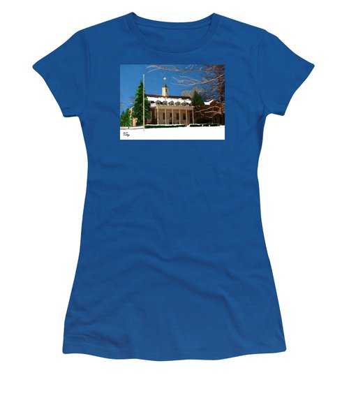 Whittle Hall In The Winter Women's T-Shirt (Junior Cut) by Bruce Nutting