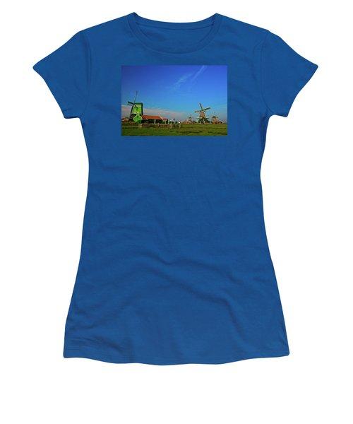 Women's T-Shirt (Junior Cut) featuring the photograph Windmills At Zaanse Schans by Jonah  Anderson