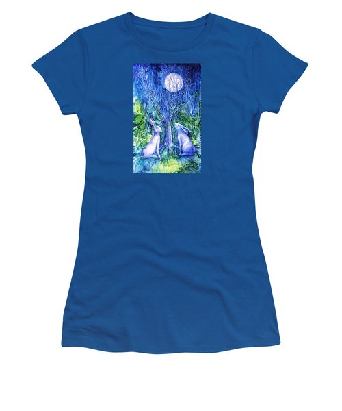 Winter Descends As Two Hares Contemplate An Owl By Moonlight Women's T-Shirt (Junior Cut) by Trudi Doyle