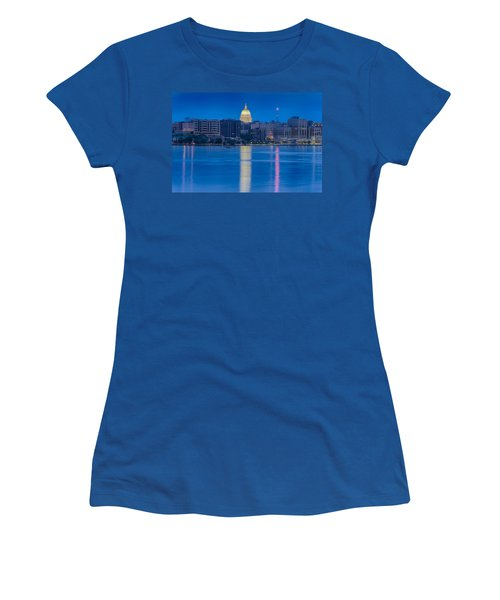Women's T-Shirt (Junior Cut) featuring the photograph Wisconsin Capitol Reflection by Sebastian Musial