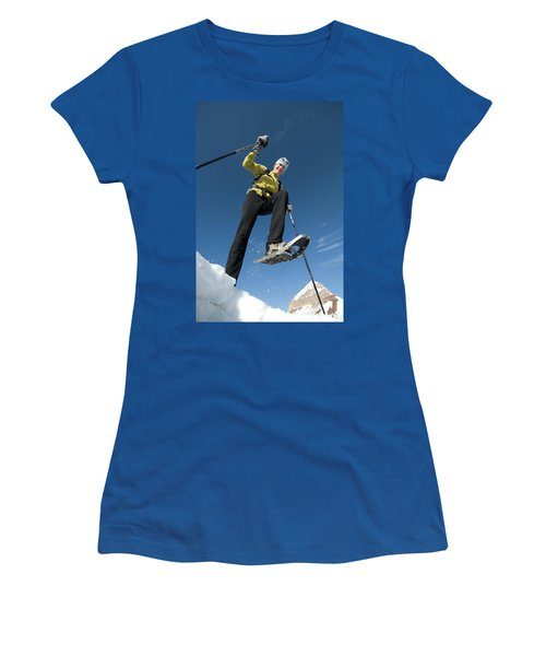Woman Snowshoeing Below Mountain, San Women's T-Shirt