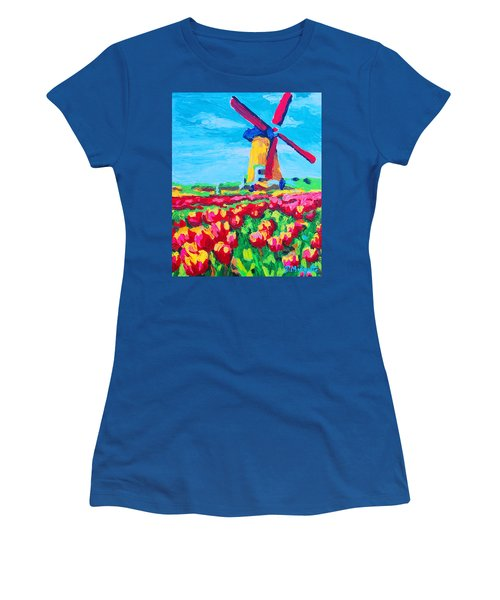 Windmill And Tulips Women's T-Shirt