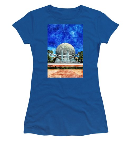 Women's T-Shirt (Junior Cut) featuring the digital art Spaceship Earth And Fountain Of Nations by Sandy MacGowan