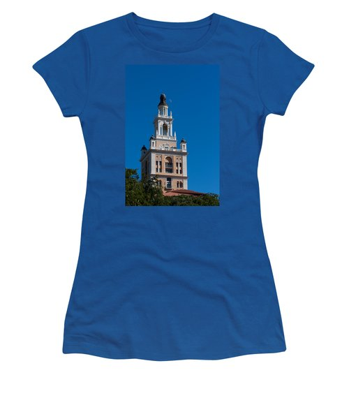 Women's T-Shirt (Junior Cut) featuring the photograph Biltmore Hotel Tower And Moon by Ed Gleichman