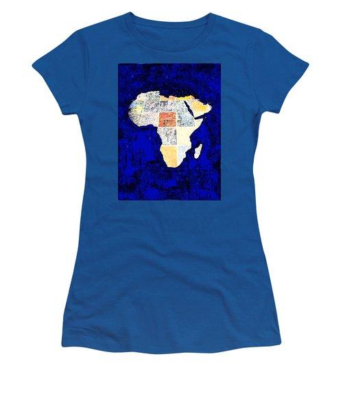 Blue Africa Women's T-Shirt (Junior Cut) by Anne Mott