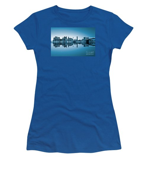 Women's T-Shirt (Junior Cut) featuring the photograph Blue New York City by Luciano Mortula