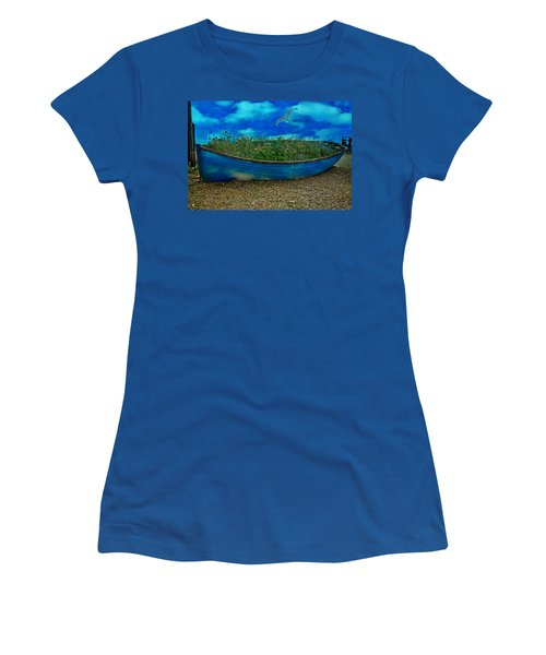 Women's T-Shirt (Junior Cut) featuring the photograph Blue Sky Boat  by Chris Lord