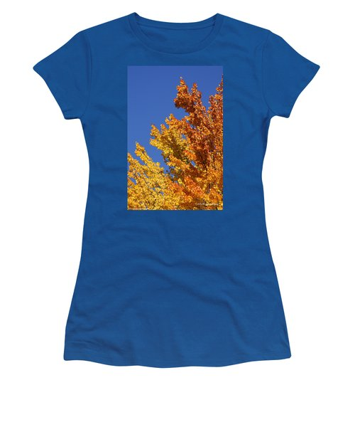 Women's T-Shirt (Junior Cut) featuring the photograph Brilliant Fall Color And Deep Blue Sky by Mick Anderson