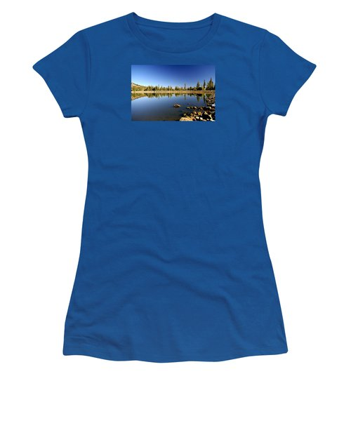 Calm Day On Red Lake Women's T-Shirt (Junior Cut) by Michael Courtney