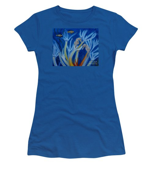 Women's T-Shirt (Junior Cut) featuring the painting Date Night On The Reef by Julie Brugh Riffey